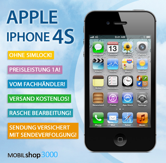 apple iphone 4s 16gb schwarz ohne simlock ohne vertrag. Black Bedroom Furniture Sets. Home Design Ideas